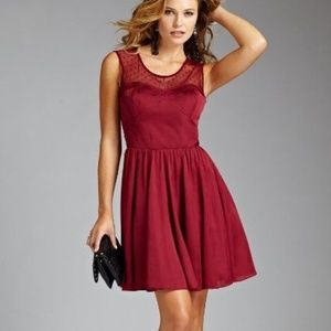 NEW GUESS Romaine Red Wine Dotted Mesh Lace Dress